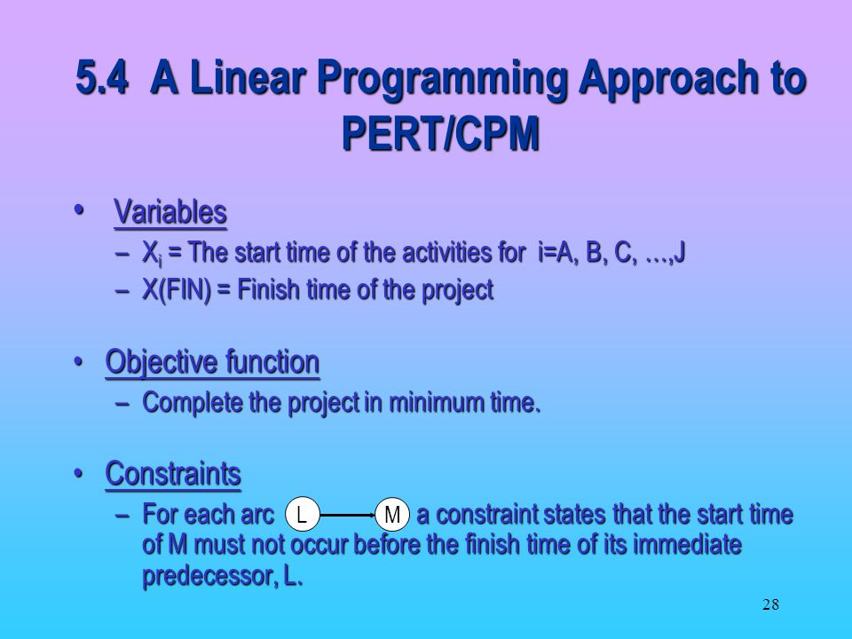 5.4 A Linear Programming Approach to PERT/CPM
