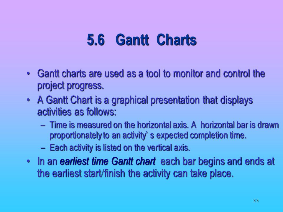 5.6 Gantt Charts Gantt charts are used as a tool to monitor and control the project progress.