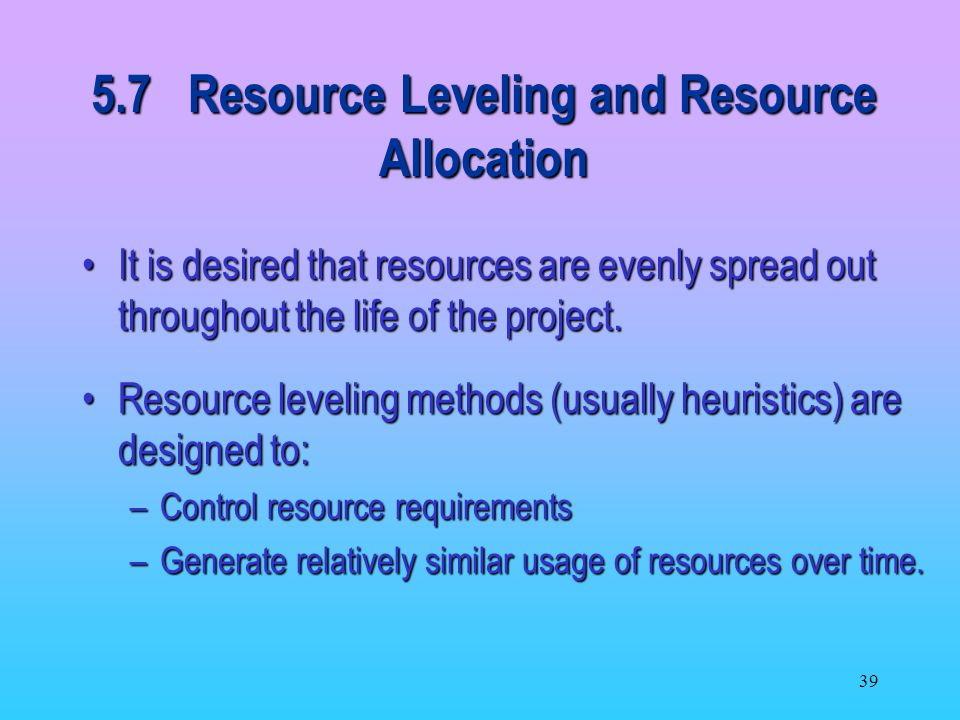 5.7 Resource Leveling and Resource Allocation