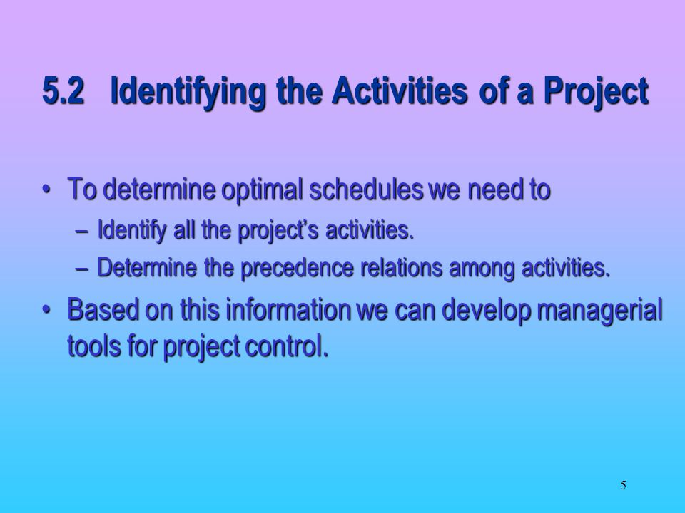 5.2 Identifying the Activities of a Project
