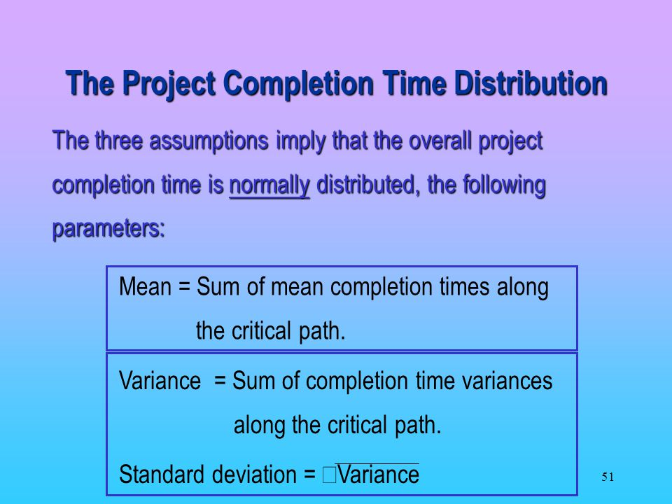 The Project Completion Time Distribution