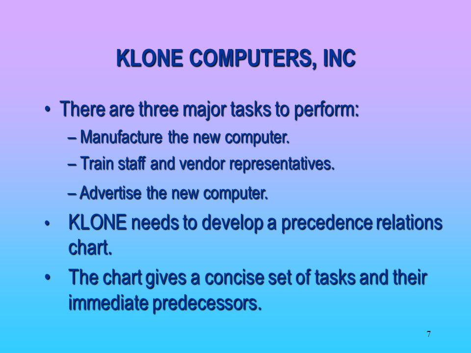 KLONE COMPUTERS, INC There are three major tasks to perform: