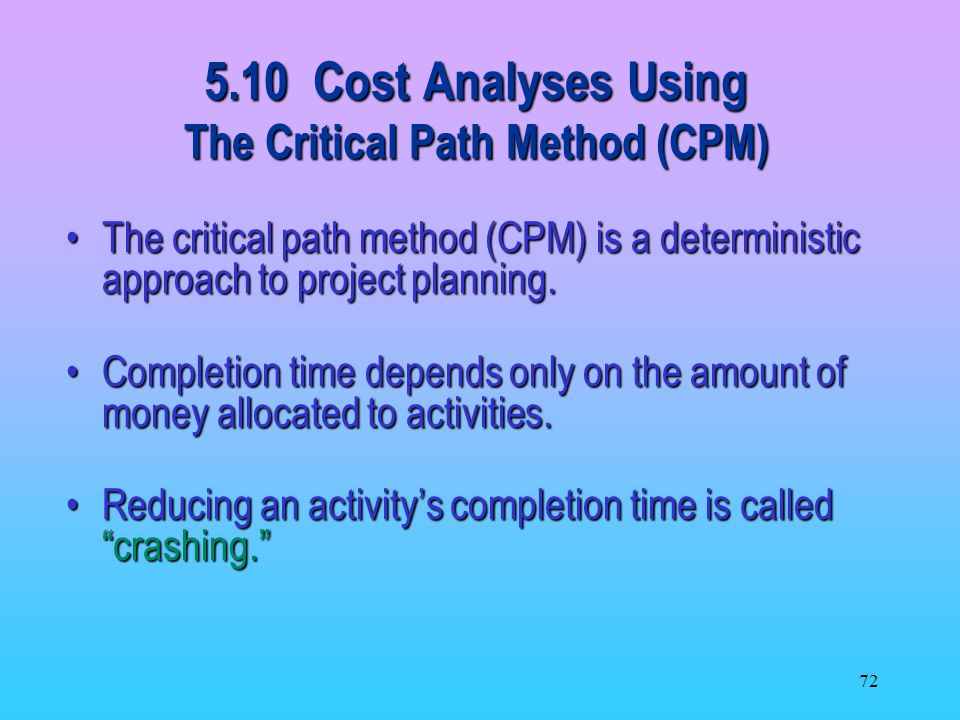 5.10 Cost Analyses Using The Critical Path Method (CPM)