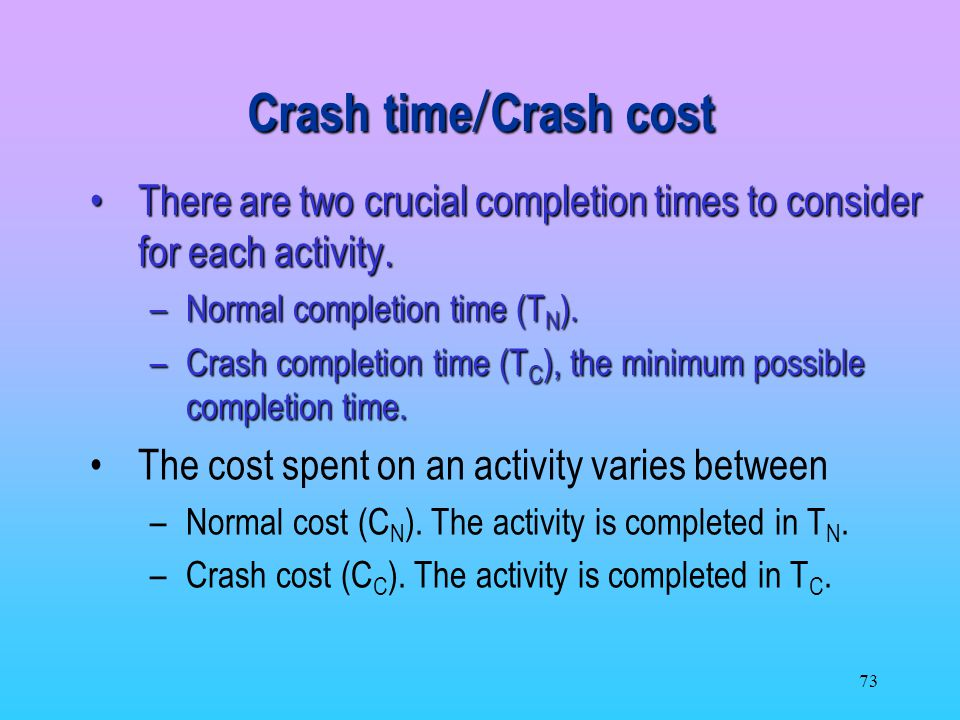 Crash time/Crash cost There are two crucial completion times to consider for each activity. Normal completion time (TN).