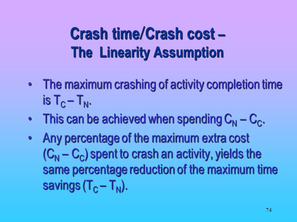 Crash time/Crash cost – The Linearity Assumption