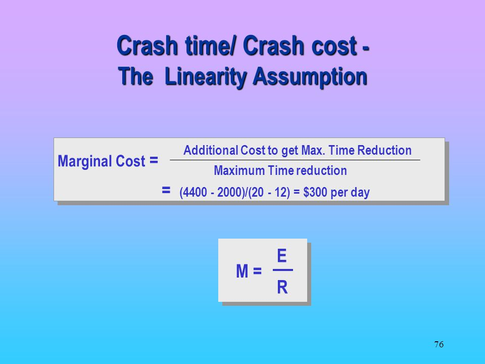 Crash time/ Crash cost - The Linearity Assumption
