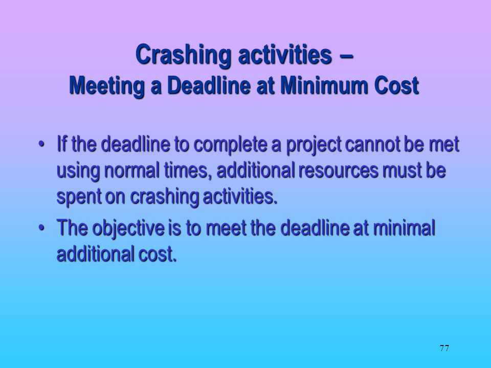 Crashing activities – Meeting a Deadline at Minimum Cost