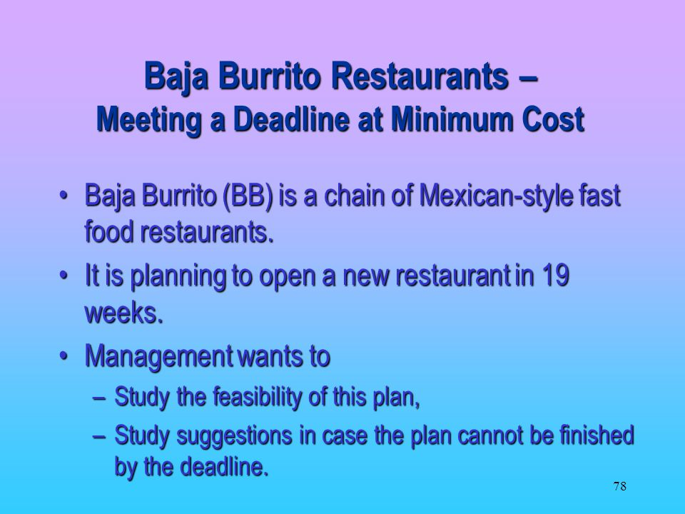 Baja Burrito Restaurants – Meeting a Deadline at Minimum Cost