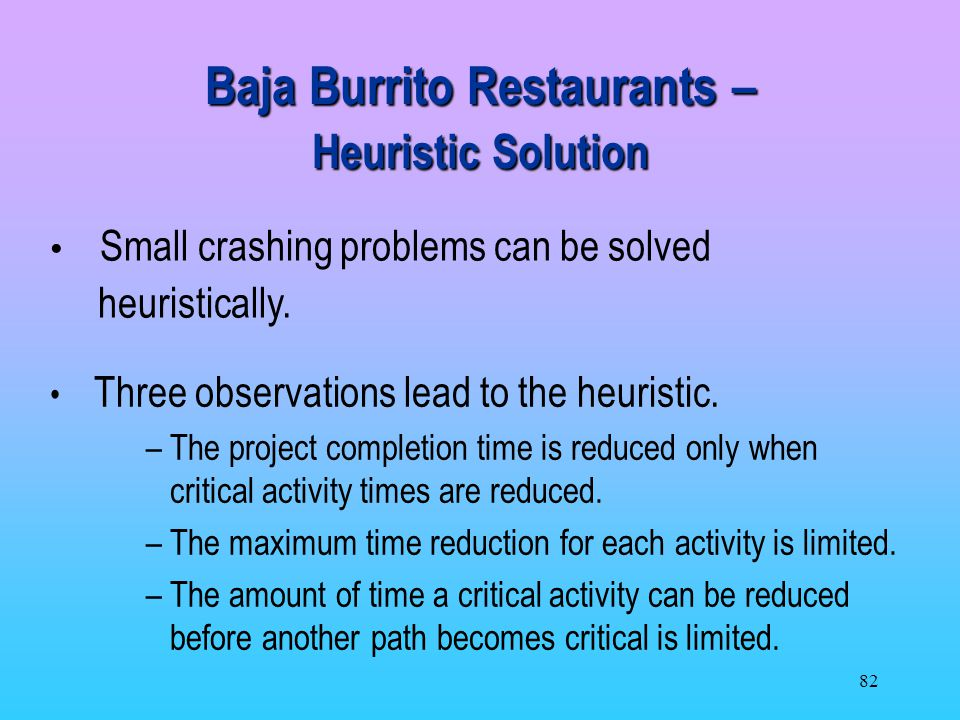 Baja Burrito Restaurants – Heuristic Solution