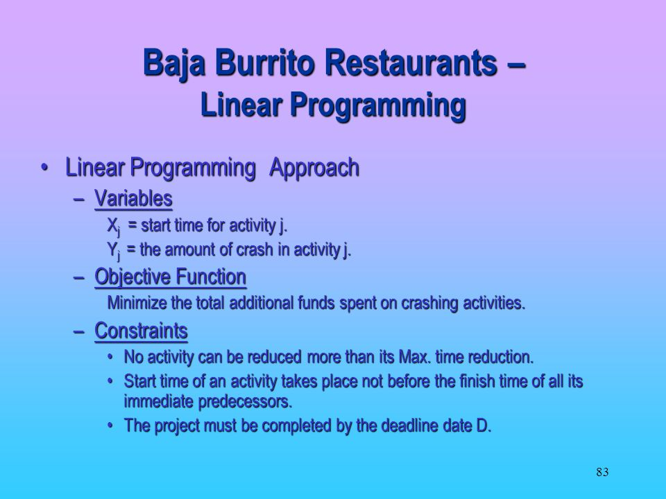 Baja Burrito Restaurants – Linear Programming