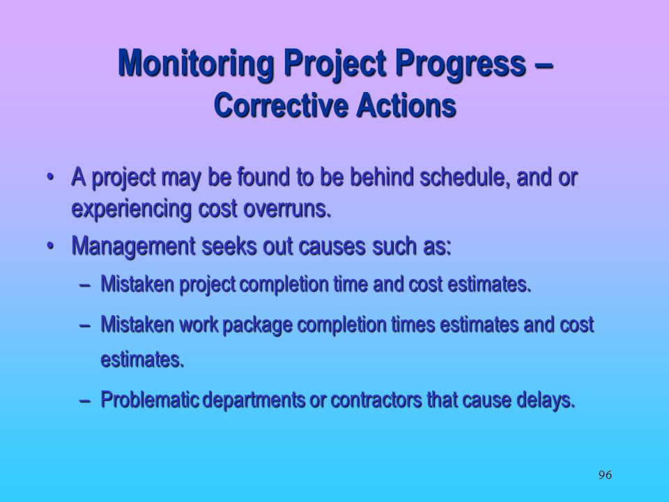 Monitoring Project Progress – Corrective Actions