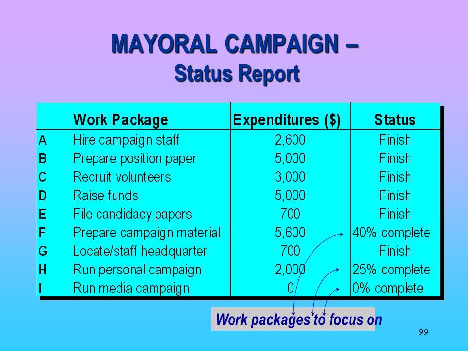 MAYORAL CAMPAIGN – Status Report