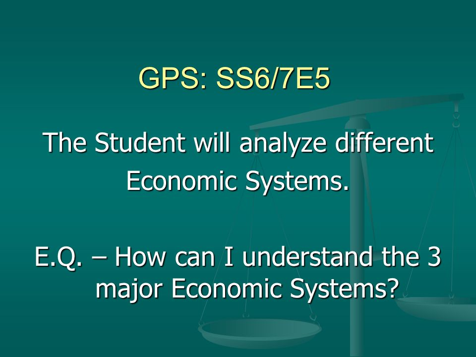 GPS: SS6/7E5 The Student will analyze different Economic Systems.
