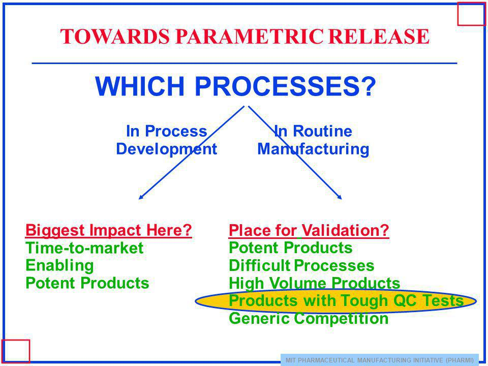 WHICH PROCESSES TOWARDS PARAMETRIC RELEASE In Process Development