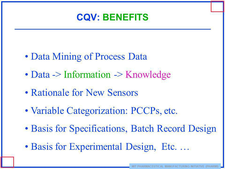 Data Mining of Process Data Data -> Information -> Knowledge