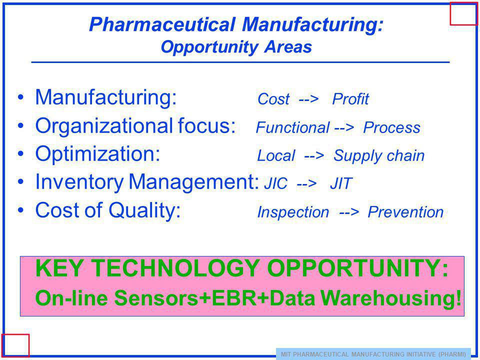 Pharmaceutical Manufacturing: Opportunity Areas