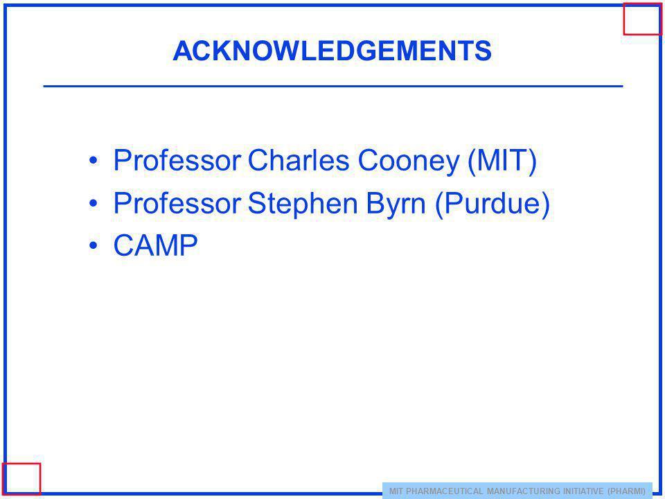 Professor Charles Cooney (MIT) Professor Stephen Byrn (Purdue) CAMP