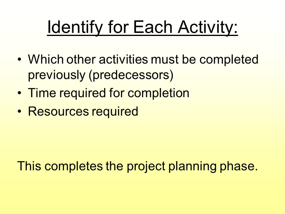 Identify for Each Activity:
