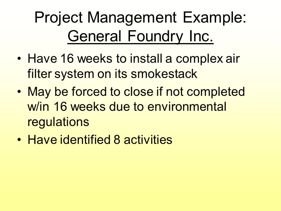 Project Management Example: General Foundry Inc.