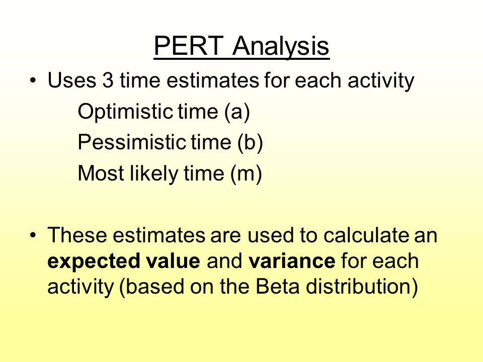 PERT Analysis Uses 3 time estimates for each activity