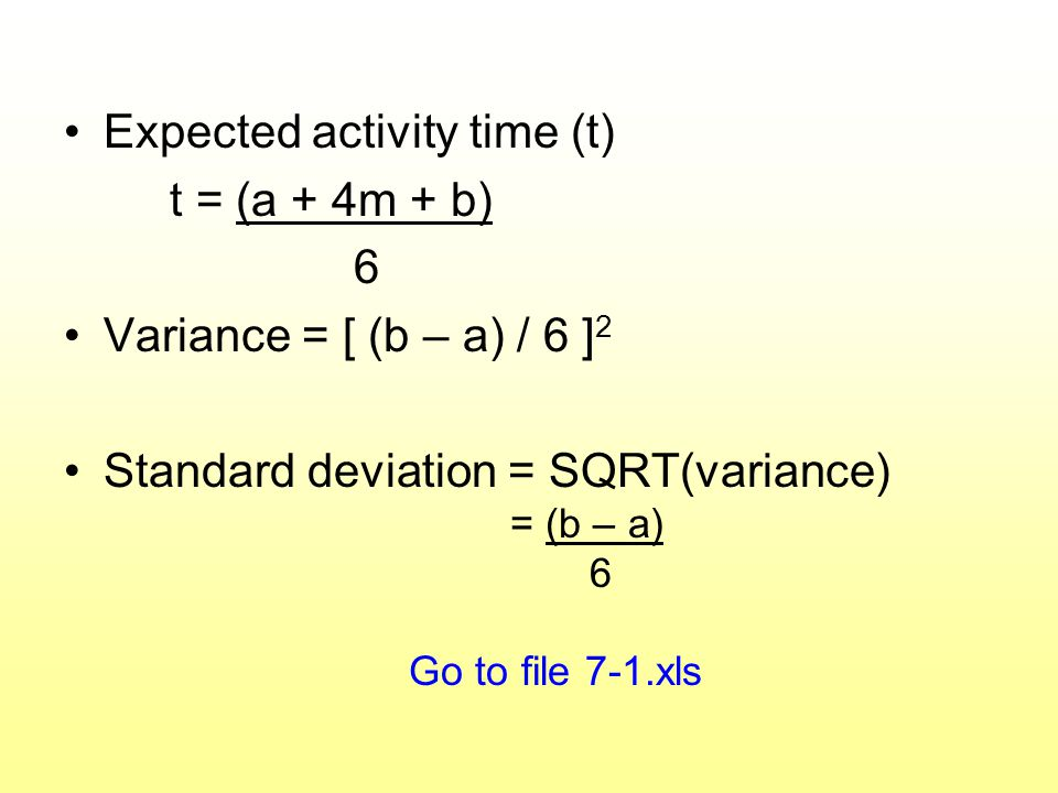 Expected activity time (t) t = (a + 4m + b) 6