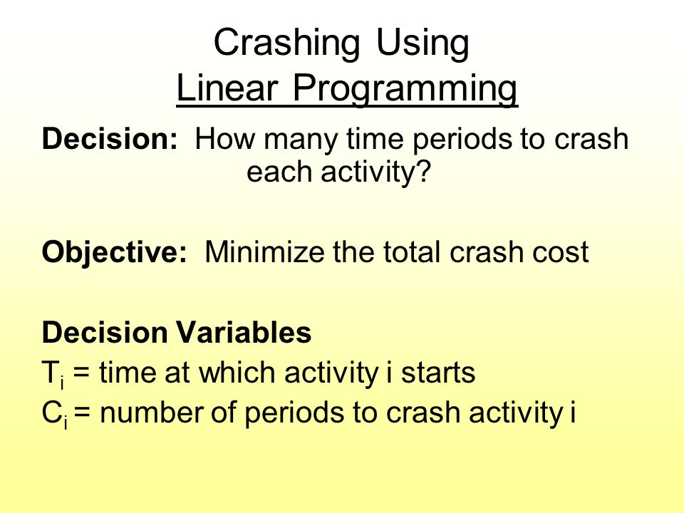 Crashing Using Linear Programming