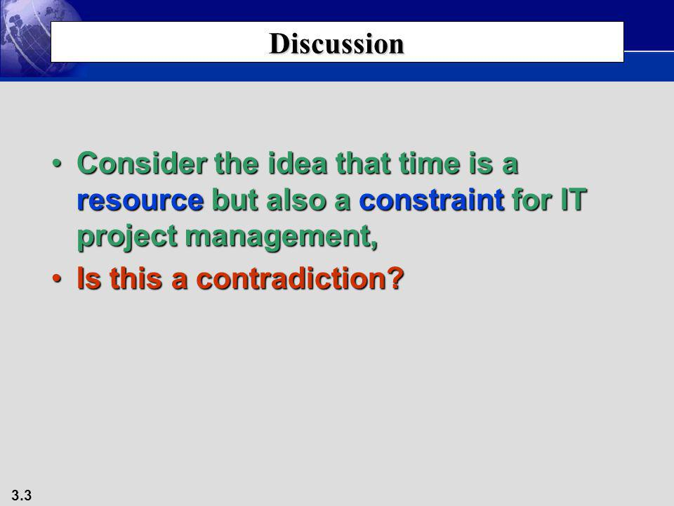 Discussion Consider the idea that time is a resource but also a constraint for IT project management,