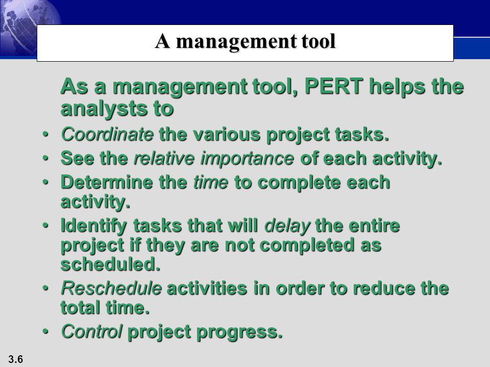 As a management tool, PERT helps the analysts to