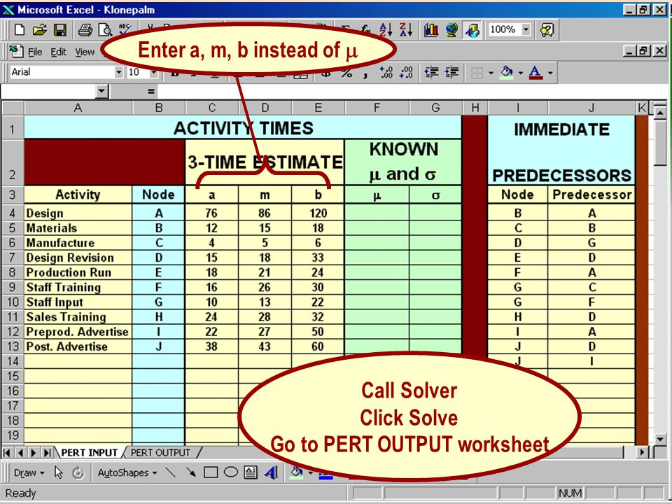 Go to PERT OUTPUT worksheet