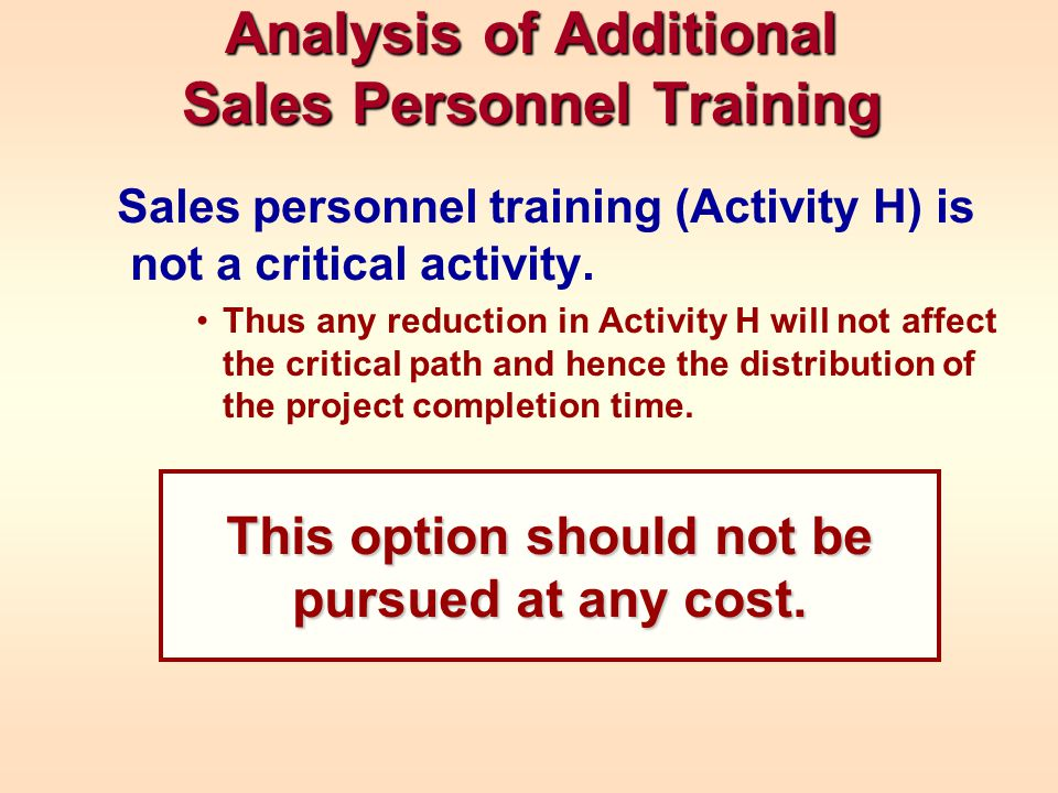 Analysis of Additional Sales Personnel Training