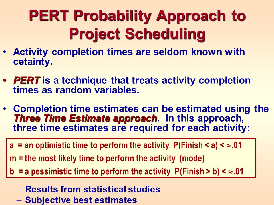 PERT Probability Approach to Project Scheduling