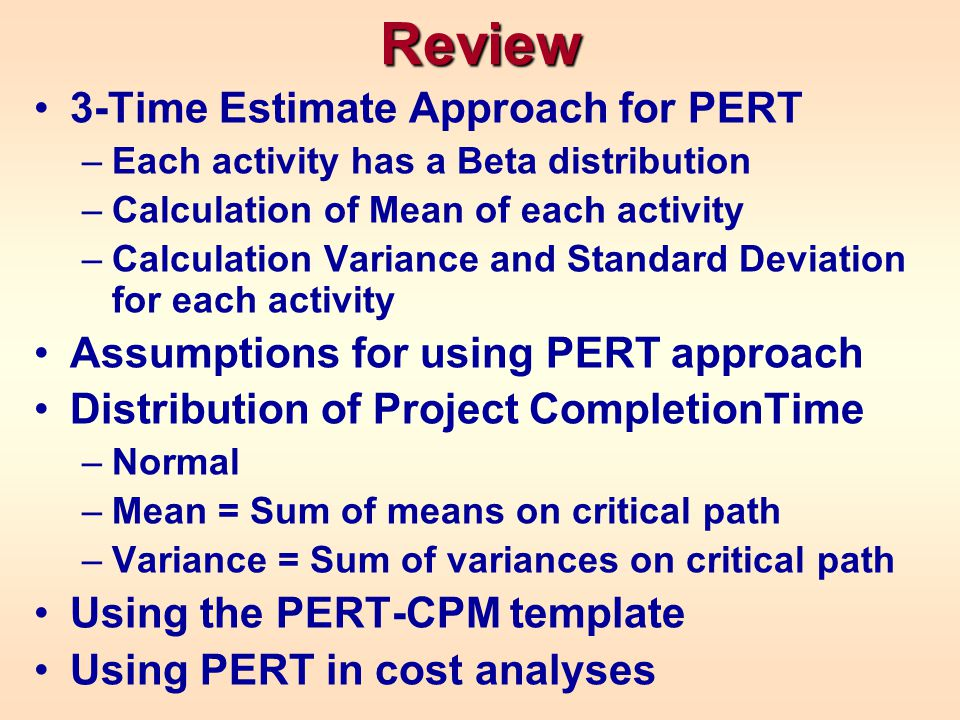Review 3-Time Estimate Approach for PERT