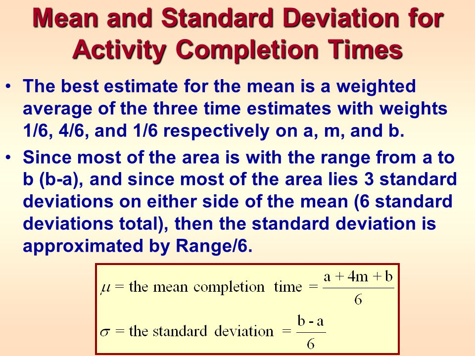 Mean and Standard Deviation for Activity Completion Times