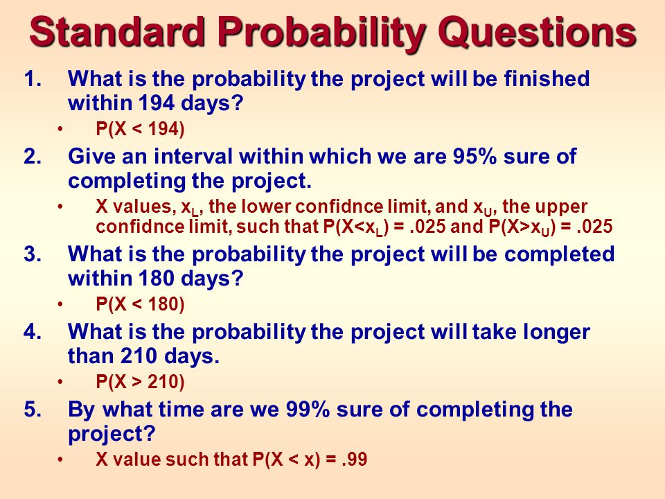 Standard Probability Questions