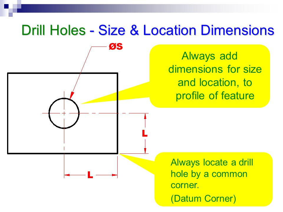 Drill Holes - Size & Location Dimensions