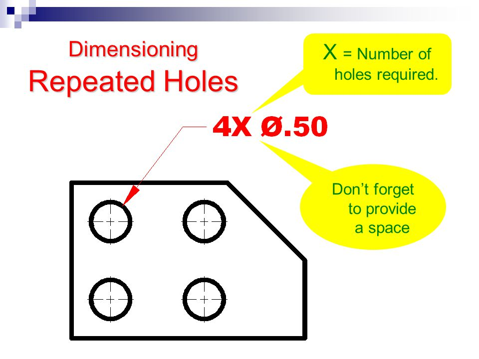 Dimensioning Repeated Holes