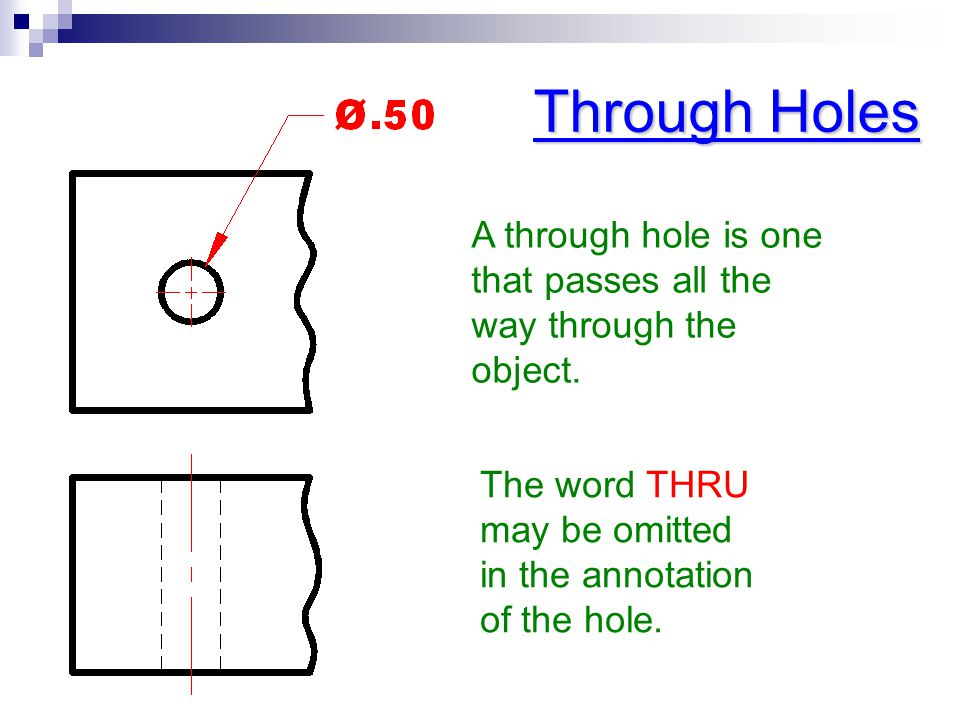 Through Holes A through hole is one that passes all the way through the object.
