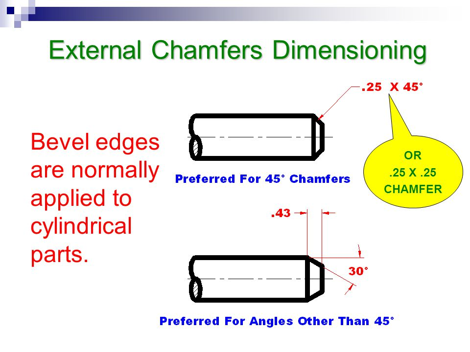 External Chamfers Dimensioning