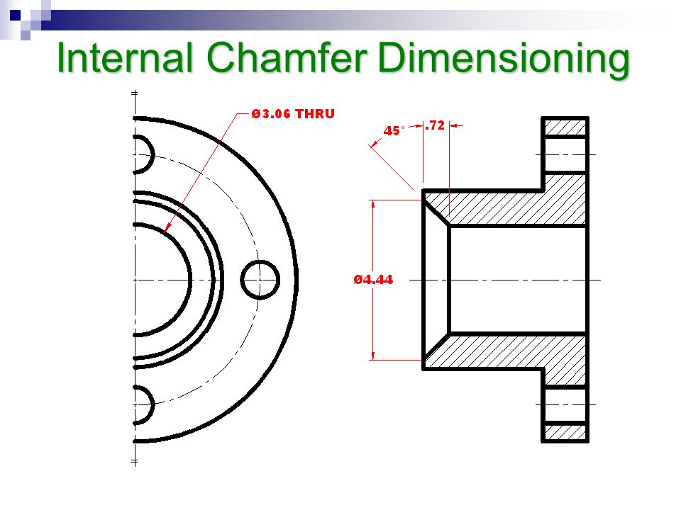 Internal Chamfer Dimensioning