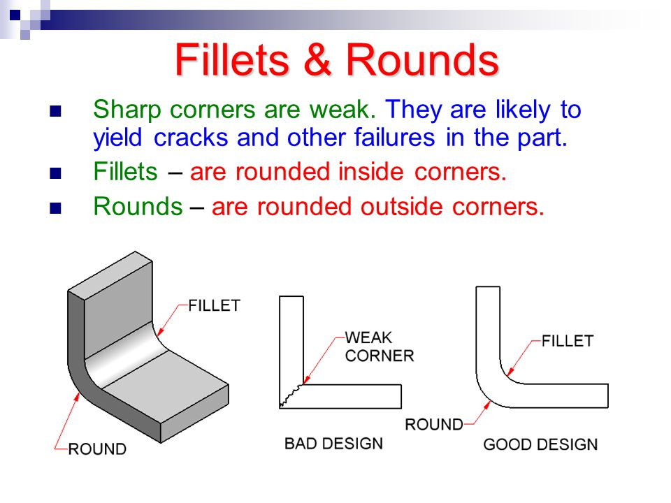 Fillets & Rounds Sharp corners are weak. They are likely to yield cracks and other failures in the part.