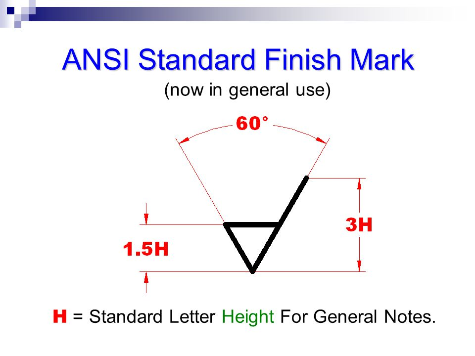 ANSI Standard Finish Mark