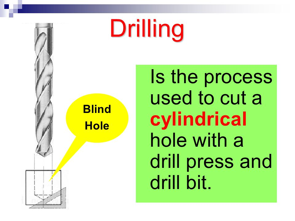 Drilling Is the process used to cut a cylindrical hole with a drill press and drill bit. Blind Hole