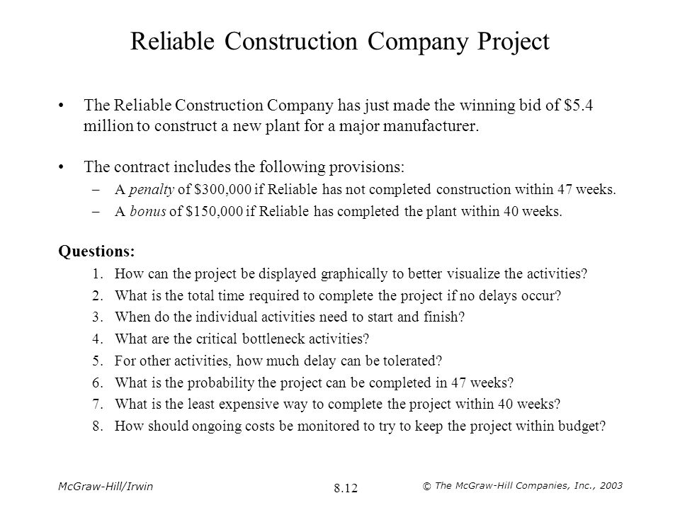 Reliable Construction Company Project