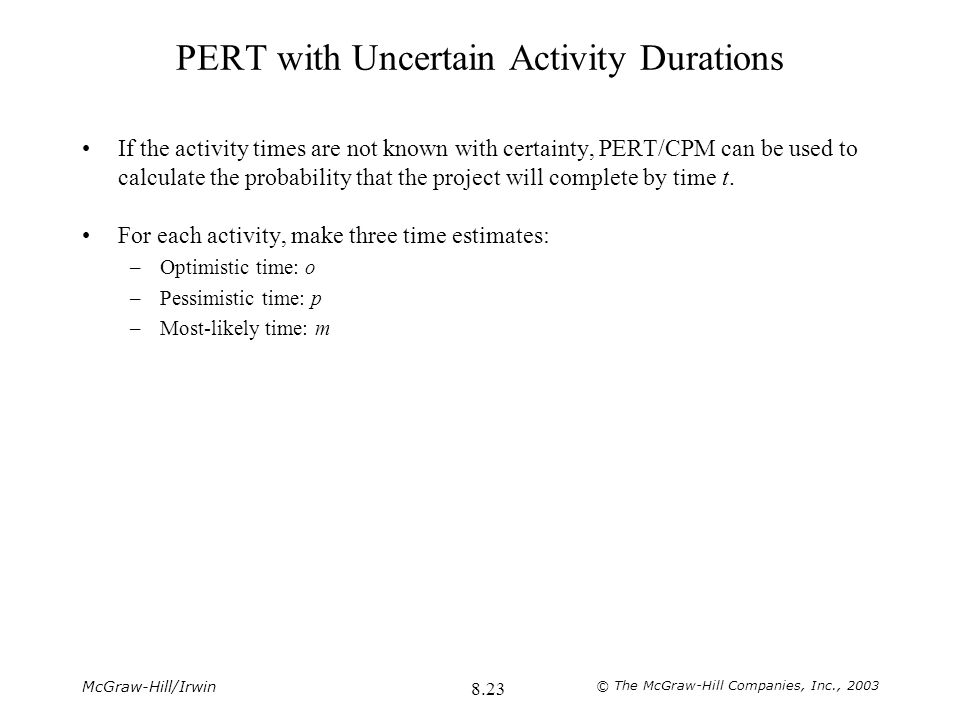 PERT with Uncertain Activity Durations