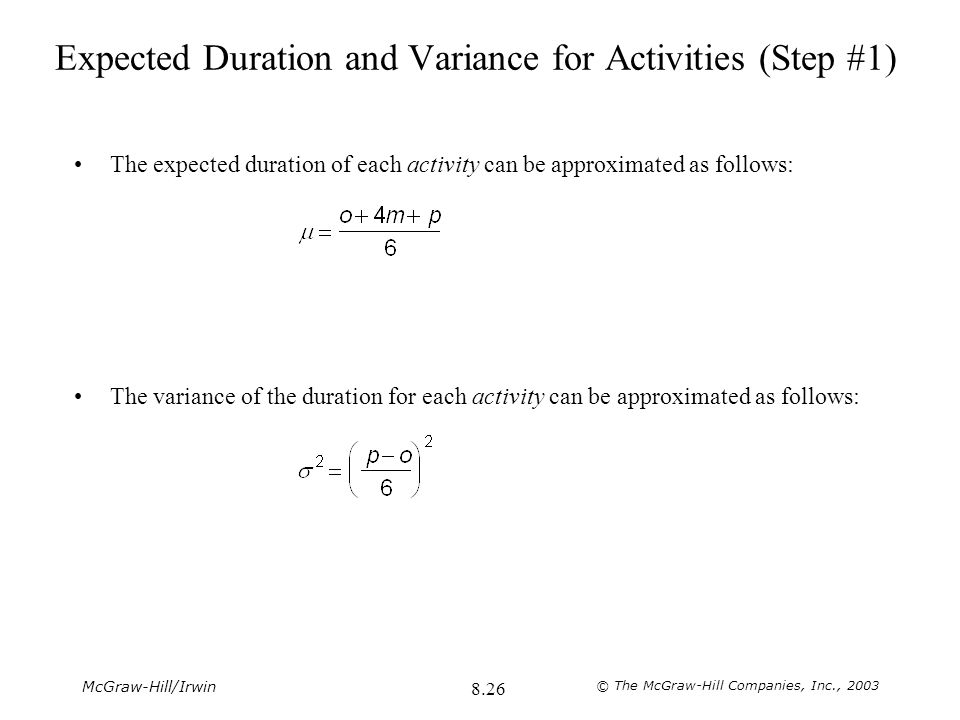 Expected Duration and Variance for Activities (Step #1)