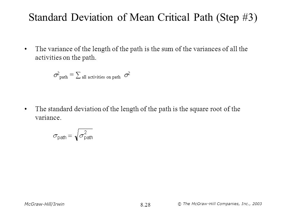 Standard Deviation of Mean Critical Path (Step #3)