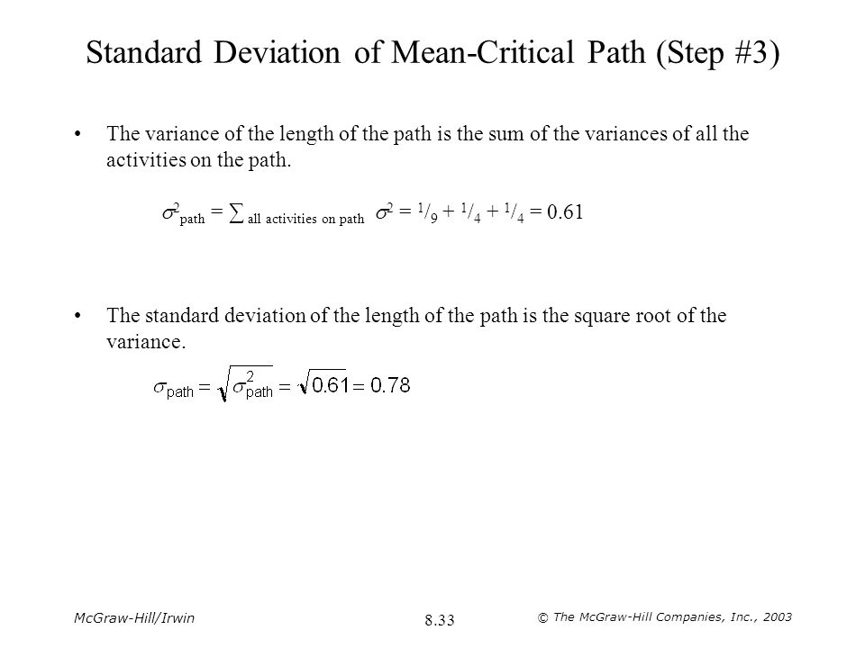 Standard Deviation of Mean-Critical Path (Step #3)