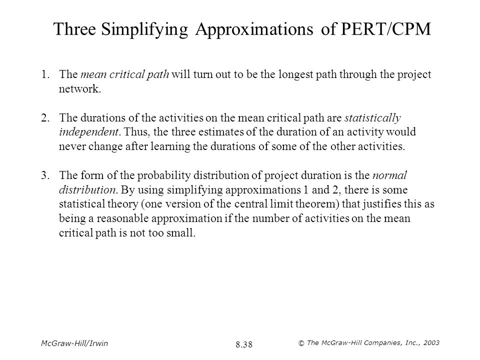 Three Simplifying Approximations of PERT/CPM