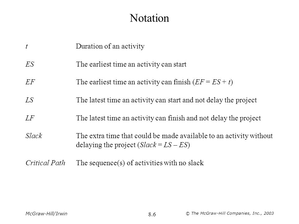 Notation t Duration of an activity