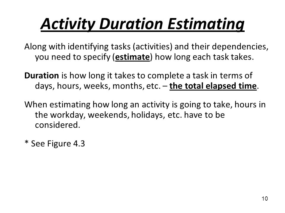Activity Duration Estimating